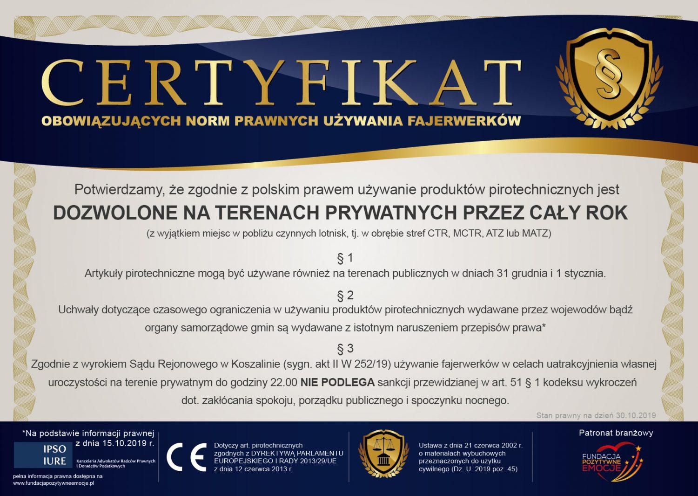 W związku z często pojawiającymi się nieprawdziwymi informacjami n/t możliwości używania fajerwerków chcielibyśmy definitywnie wyjaśnić ten temat do końca.  :) Dlatego też, przygotowaliśmy dla Was certyfikat potwierdzający, iż zgodnie z polskim prawem używanie produktów pirotechnicznych jest DOZWOLONE NA TERENACH PRYWATNYCH PRZEZ CAŁY ROK.
